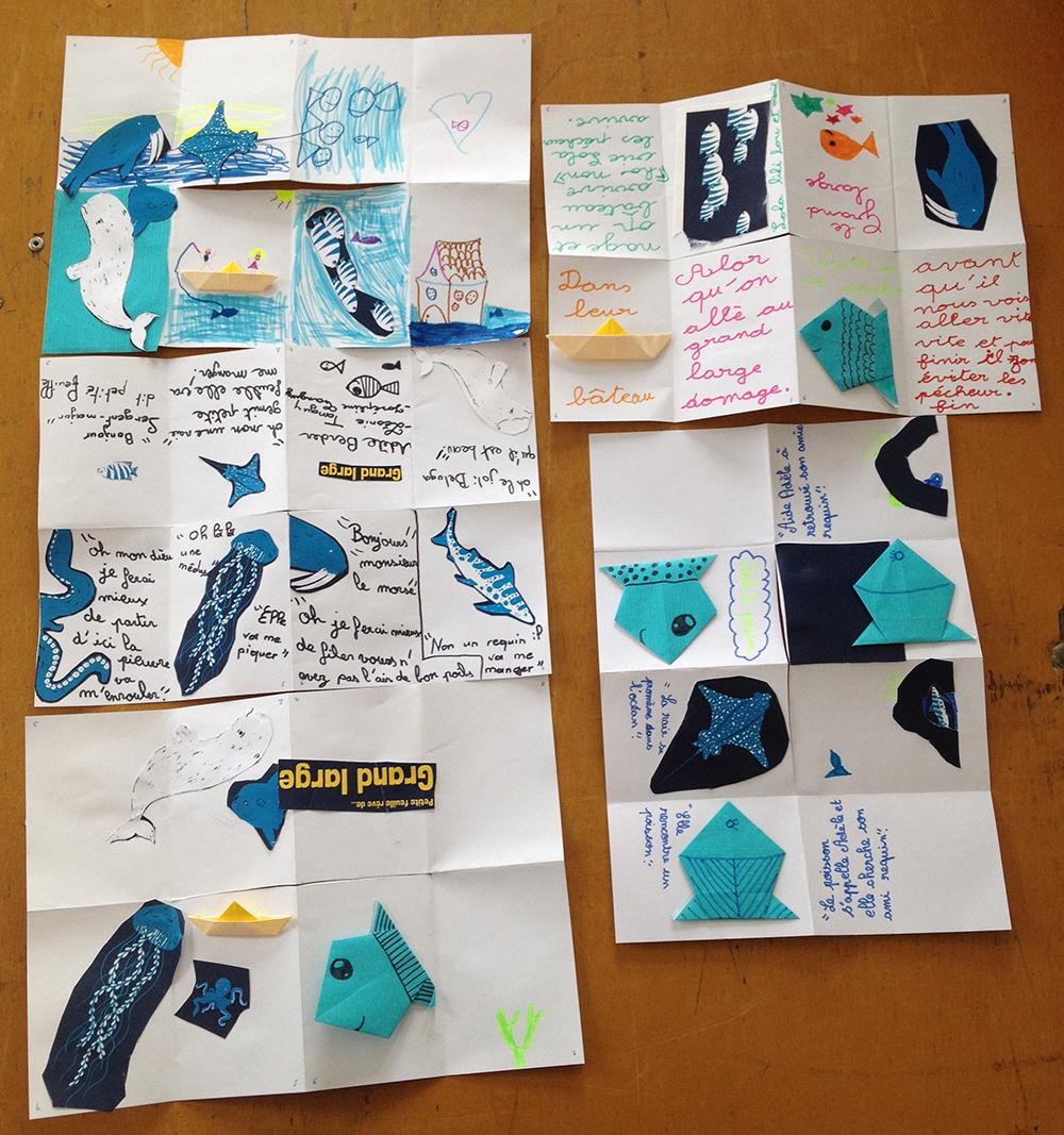 Livres de 8 pages réalisés par les enfants à partir de l'histoire et des visuels de Petite Feuille rêve de Grand large.