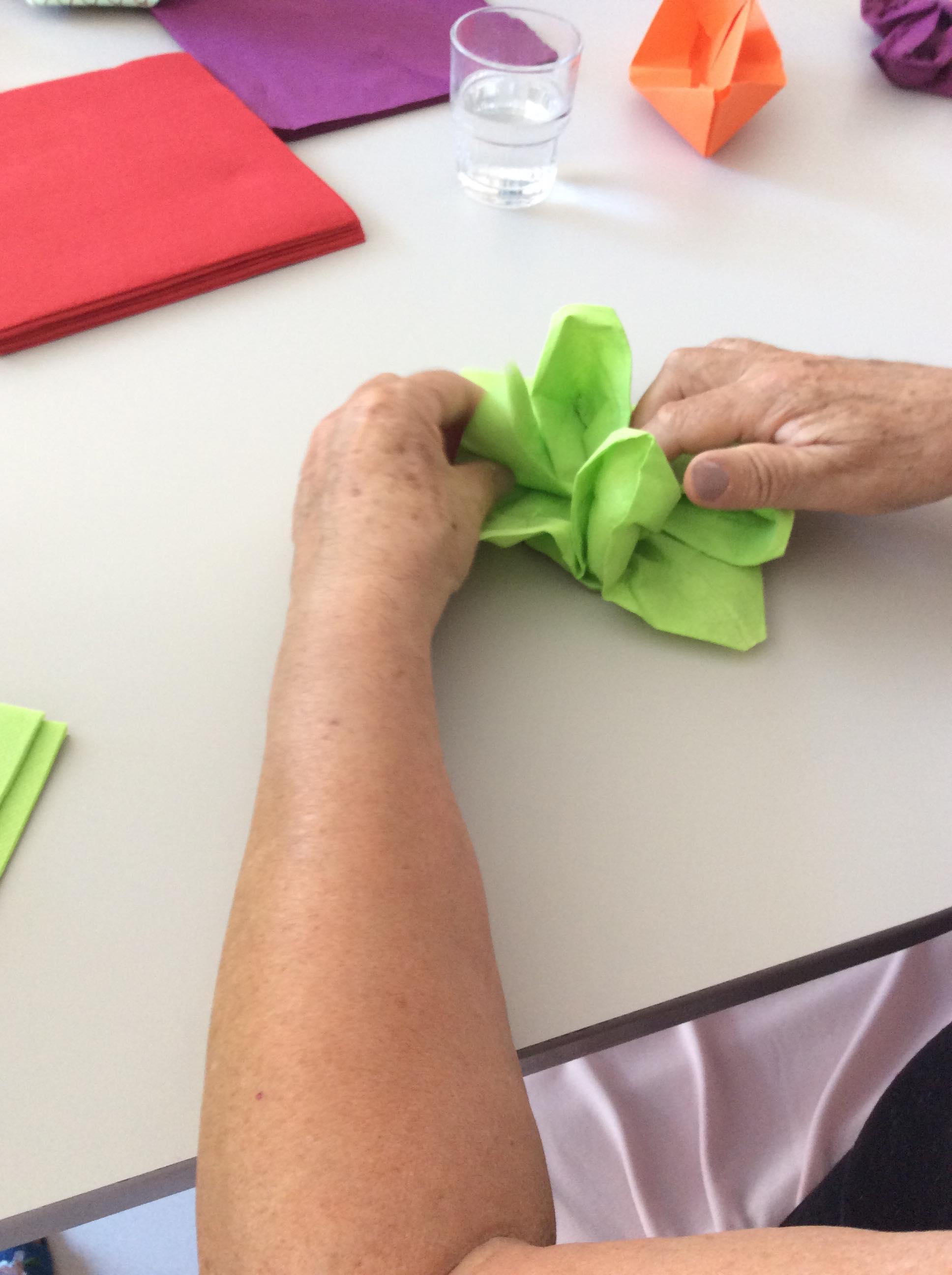atelier gérontospychiatrie, personne âgée pliant un lotus avec l'aide d'un soignant