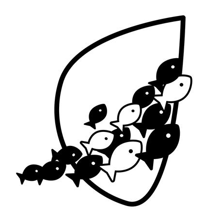 logo représentation un banc de poisson avançant tous dans le même sens