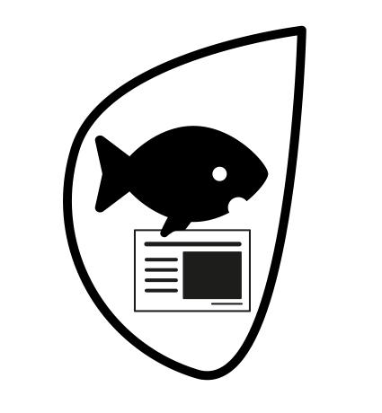 logo poisson représentant un poisson avec un document de communication