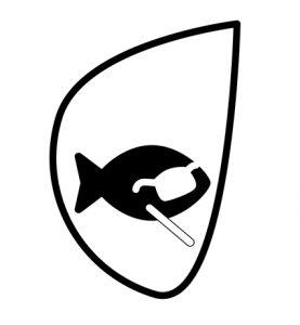 logo représentanbt un poisson avec des lunettes pleines et une canne blanche