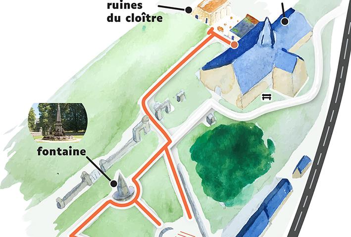 détail d'un plan zoomé d'abbaye du Relec