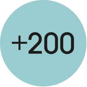 un rond présente le nombre 200 comme testeurs impliqués dans l'évaluation de la mallette