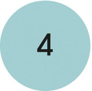 un rond présente le chiffre 4 comme les 4 années passées à développer la mallette