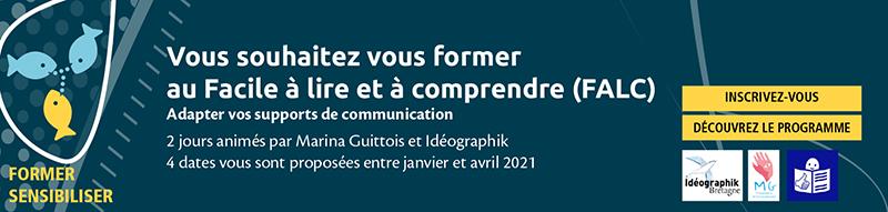 bandeau invitant à s'inscrire pour la formaton FALC en 2021