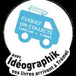logo Cliquez on collecte présentant un véhicule qui ramène des livres de Lannion à Trémel