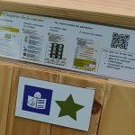 Sur chaque boite contenant les panneaux FALC. Une fiche explicative indique le détail des panneaux et invite à flasher un QRCODE pour accéder numériquement à l'ensemble des panneaux de l'expo