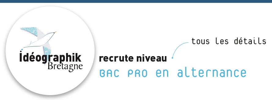 Logo Idéographk avec la mention recture niveau BAC PRO en alternance et une flèche indiquant Tous les détails