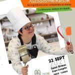 affiche présentant un jeune avec des ustensiles de cuisine
