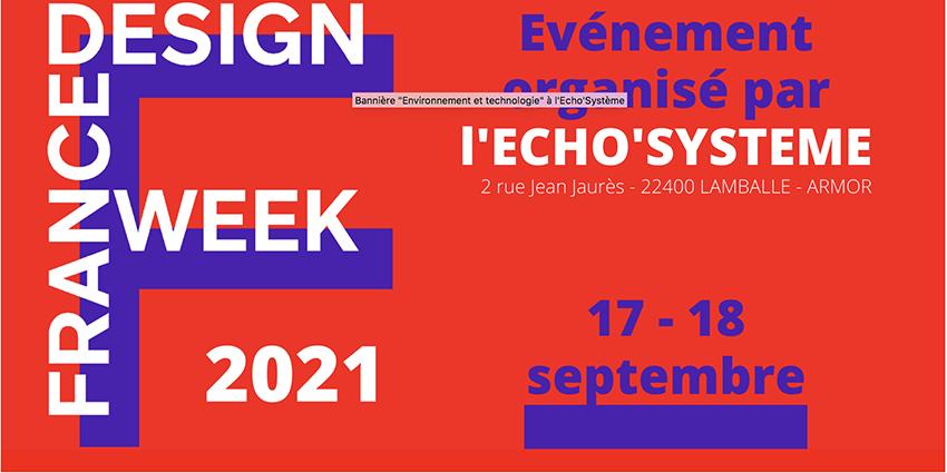 Visuel de l'événement France Design week organisé par l'espace de coworking à Lamballe les 17 et 18 septembre 2021